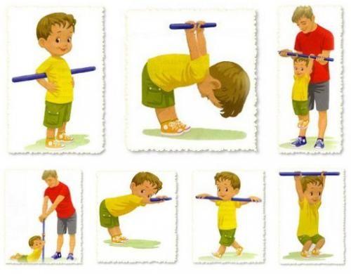 Упражнения для осанки для детей с палкой